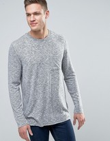 New Look Jumper With Cut And Sew Pocket In Grey