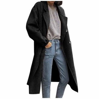 Mllkcao Winter Coats for Women Jackets Ladies Gifts for Women Solid Trench Windbreaker Tops Double Breasted Overcoat Fashion Black