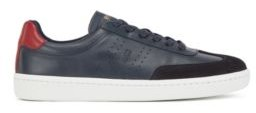 HUGO BOSS Tennis-style trainers in smooth leather with suede detailing
