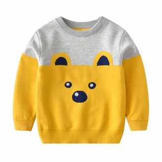 Zerototens Boys Girls Christmas Cartoon Knit Sweater Round Neck Santa Claus Pullover Long Sleeve Knitwear Autumn and Winter Kids Baby Casual Tops Fashion Jumper for 18 Months-6 Years
