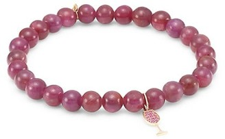 Sydney Evan 14K Rose Gold, Red Garnet & Pink Sapphire Wine Glass Charm Beaded Bracelet