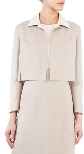 Akris Open-Front Long-Sleeve Cropped Wool-Silk Jacket