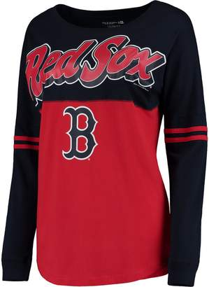 New Era Women's 5th & Ocean by Red Boston Red Sox MLB Baby Jersey Varsity Crew Boyfriend Long Sleeve T-Shirt