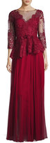 Rickie Freeman For Teri Jon 3/4-Sleeve Lace & Chiffon Peplum Gown, Red