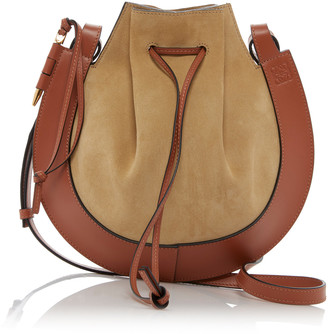 Loewe Horseshoe Leather-Trimmed Suede Crossbody Bag
