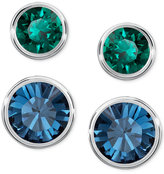 Swarovski Silver-Tone 2-Pc. Set Blue and Green Crystal Stud Earrings