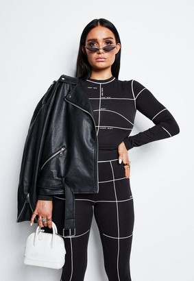 Missguided Lissy Roddy X Black Co Ord Contrast Pipe Line Detail Leggings