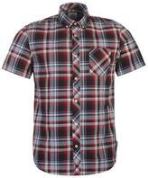 Soviet Mens Short Sleeve Check Shirt Button Down Collar Neck Chest Pocket