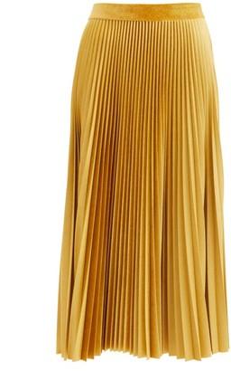 Valentino Logo-embroidered Pleated Velvet-jersey Midi Skirt - Gold