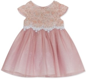 Rare Editions Baby Girls Sparkle Lace Mesh Dress