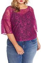 Plus Size Women's Rebel Wilson X Angels Lantern Sleeve Lace Top