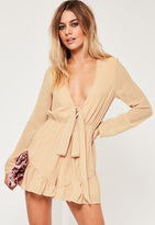 Missguided Nude Crepe Long Sleeve Flutter Short Romper