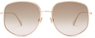 Christian Dior Eyewear By Oversized Round Metal Sunglasses - Womens - Green Gold
