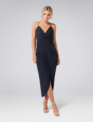 Forever New Charlotte Petite Drape Maxi Dress - Navy - 4