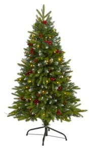 Nearly Natural Snow Tipped Portland Spruce Artificial Christmas Tree with Frosted Berries and Pinecones with 100 Clear Led Lights