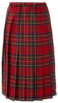 COMME DES GARÇONS GIRL Tartan Pleated-wool Skirt - Red