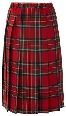 COMME DES GARÇONS GIRL Tartan Pleated-wool Skirt - Red