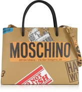 Moschino Beige Label Print Leather Small Tote Bag