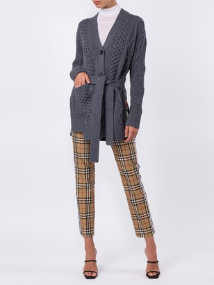 Proenza Schouler Cable Knit Robe Cardigan Grey