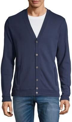 Black Brown 1826 V-Neck Cotton Buttoned Cardigan