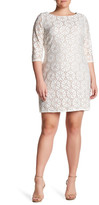 Eliza J 3/4 Length Sleeve Lace Shift Dress (Plus Size)