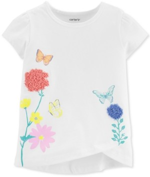 Carter's Toddler Girls White Floral Butterfly Tulip T-Shirt