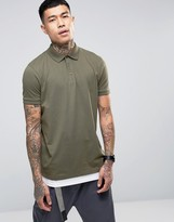 Asos Longline Polo Shirt With Hem Extender In Green And White