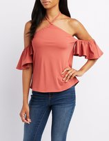 Charlotte Russe Halter Cold Shoulder Top