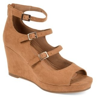 Brinley Co. Womens Open-toe Strappy Faux Suede Wedges