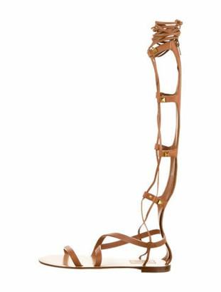 Valentino Rockstud Gladiator Sandals Brown