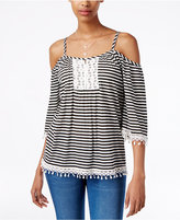 American Rag Crochet-Trim Cold-Shoulder Top, Only at Macy's
