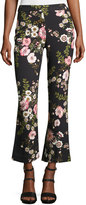 Giambattista Valli Cropped Floral-Print Pants, Black