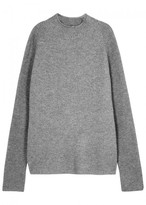 BOSS Grey Ribbed Cashmere Jumper