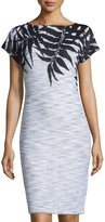 St. John Santana Leaf-Print Cap-Sleeve Dress, Black/Bright White