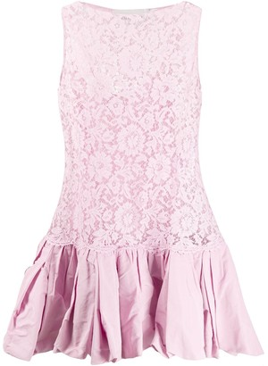 Valentino floral lace short dress