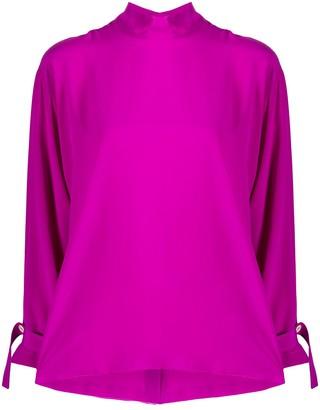 Jejia Mock Neck Long-Sleeved Blouse