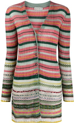 Etro Metallic-Knit Striped Cardigan