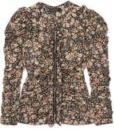 Isabel Marant Bali Ruched Floral-print Silk-blend Blouse - Black