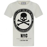 Philipp Plein Philipp PleinBoys Ivory Skull & Crossbones Cotton Top