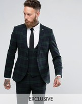 Noose & Monkey Super Skinny Suit Jacket In Check