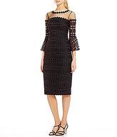 Kay Unger Bell Sleeve Lace Midi Sheath Dress
