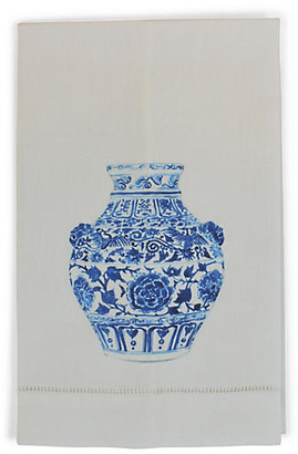 Set of 2 Yang Vase Lion Guest Towels - White - The French Bee