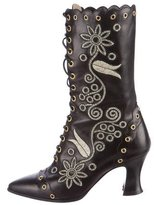 Christian Lacroix Embroidered Leather Ankle Boots