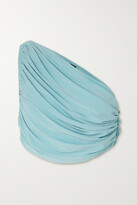 Thumbnail for your product : Norma Kamali Diana One-shoulder Draped Bikini Top - Blue