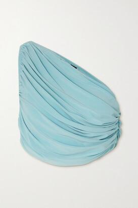 Norma Kamali Diana One-shoulder Draped Bikini Top - Blue