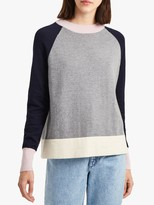 French Connection Colour Block Sleeve Jumper, Grey/Navy/Pink/Cream