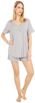 Barefoot Dreams Luxe Milk Jersey PJ Top and Boxer Set (Pewter) Women's Pajama Sets