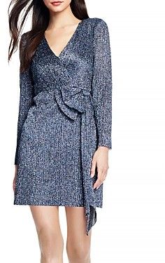 Aidan Mattox Metallic Faux Wrap Dress