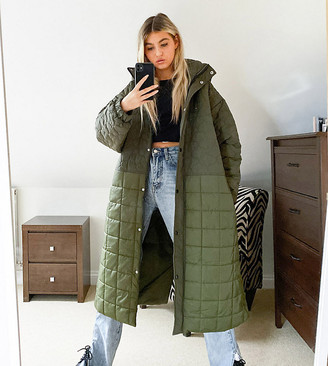 Collusion mix quilted maxi puffer jacket in green