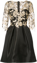 Monique Lhuillier floral overlay dress